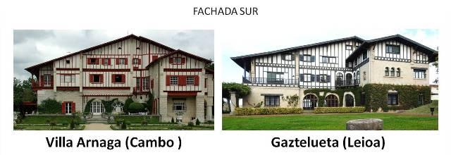 Villa Arnaga (Campo) y Gaztelueta (Leioa) - fachada Sur