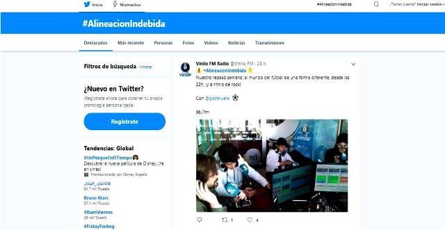 """Gaztelueta: """"Alineación indebida"""" tertulia radio sobre fútbol en Twitter"""